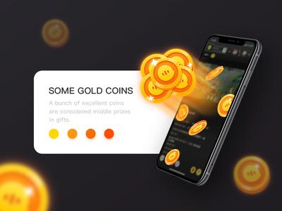 Some gold coins game logo icon app color design illustration ui