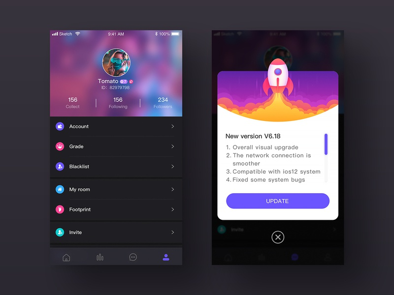 YINU page app color design illustration ui