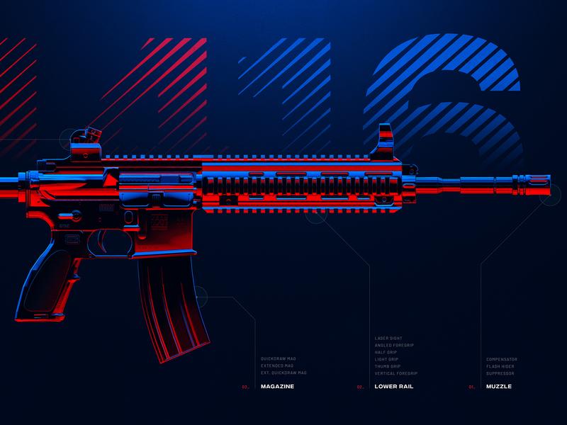 M416 - Battleground Weapons Collection - PUBG game displate print digital art wallpaper illustration artwork 3d rail muzzle magazine red blue colorful arms pubg gun rifle weapon m416