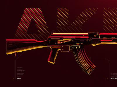 AKM - Battleground Weapons Collection - PUBG digital art artwork colorful yellow red 4k wallpaper war battle shooter game gaming rifle gun weapon ak-47 kalashnikov akm 3d pubg