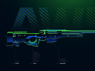 AWM - Battleground Weapons Collection - PUBG dark rifle 4k wallpaper neon blue green digital art artwork poster 3d gun game shooter gaming weapon sniper photoshop pubg awm