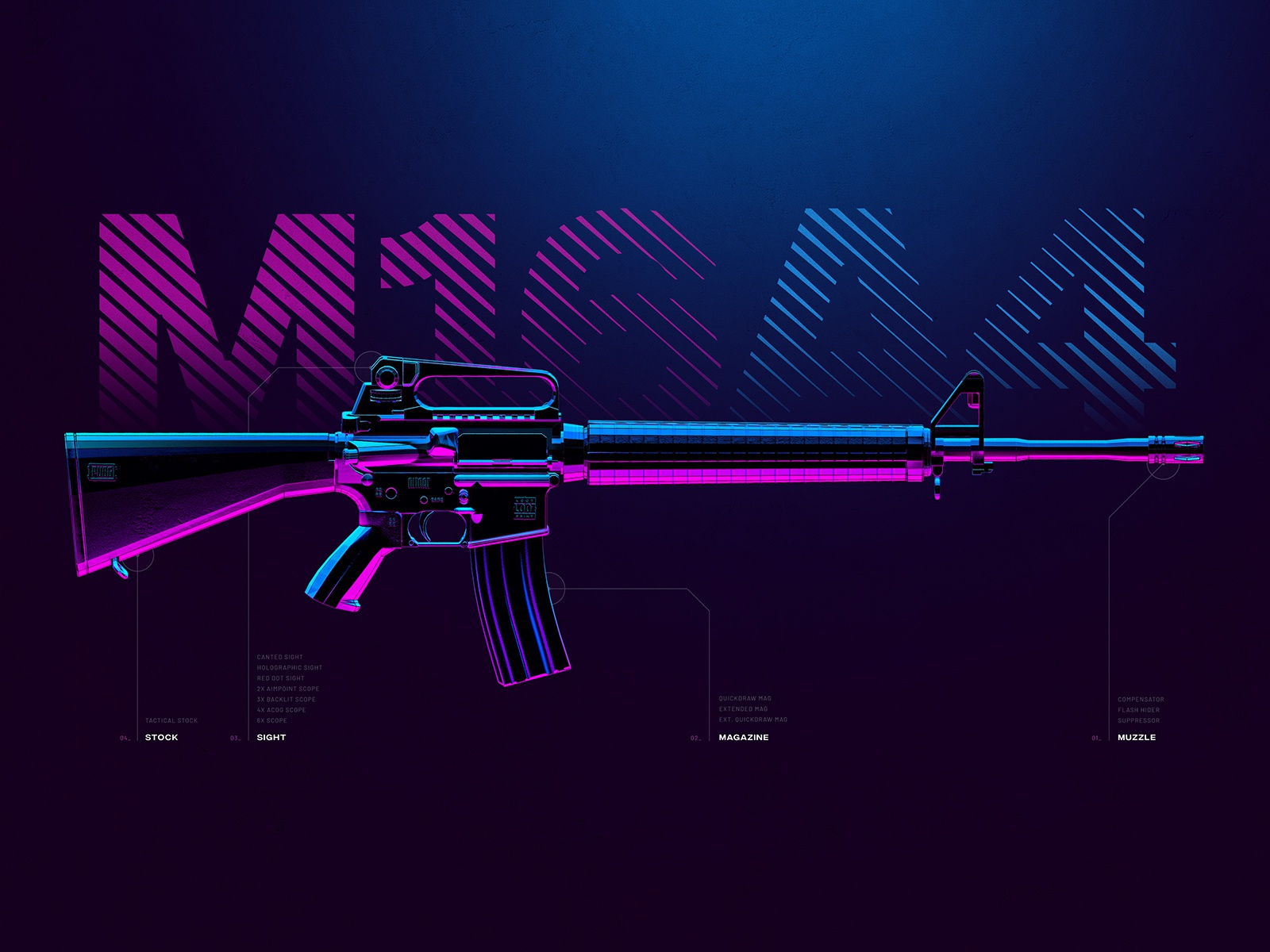 M16A4 - Battleground Weapons Collection - PUBG by Konstantin Meier on Dribbble