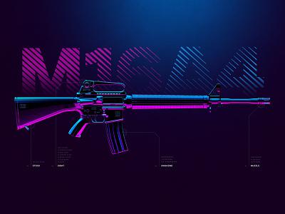 M16A4 - Battleground Weapons Collection - PUBG kill shoot artwork print digital art illustration 3d purple blue neon gun game gaming 4k wallpaper poster rifle weapon pubg m16a4