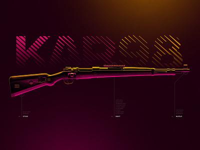 Kar98k - Battleground Weapons Collection - PUBG freebie 4k pubg pink yellow artwork poster digital art photoshop 3d wallpaper game gaming gun weapon rifle sniper karabiner kar kar98k