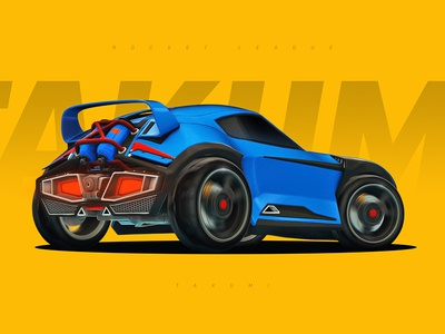 Rocket League - Takumi yellow blue wallpaper gaming game racing roadster car takumi rocket league
