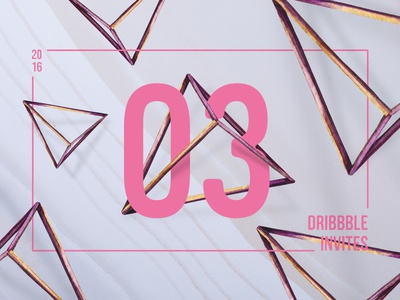 3 Dribbble Invites three pink 3d giveaway contest invitations invitation invites invite dribbble