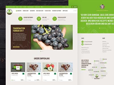 Organic Food Store - Home Page  desktop website ui healthy green food farming shop ecommerce organic homepage