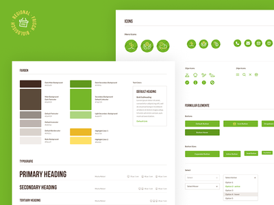 UI Styleguide shop ecommerce organic green icons colors pattern library webdesign ux ui styleguide