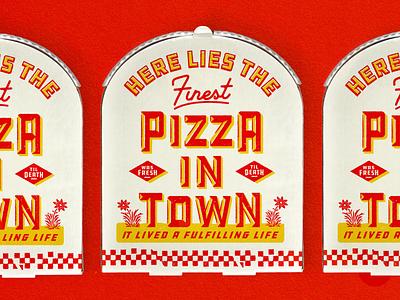RIP packaging badge monogram pattern typogaphy fresh death tombstone pizza box pizza branding