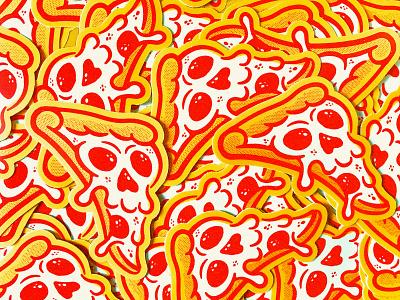 Pizza Stickers! texture illustration sticker pepperoni pizza