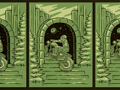 Stairway to Nowhere stairway texture stars planet nature trees stairs illustration motorcycle