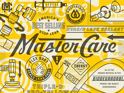 MasterCare Brand caution arrow instructional tools typography brand identity badge chemical hvac technical illustration script logo branding