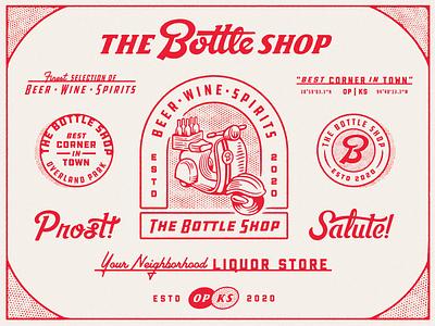 The Bottle Shop beer illustration script texture badge typography bottle shop liquor moped branding