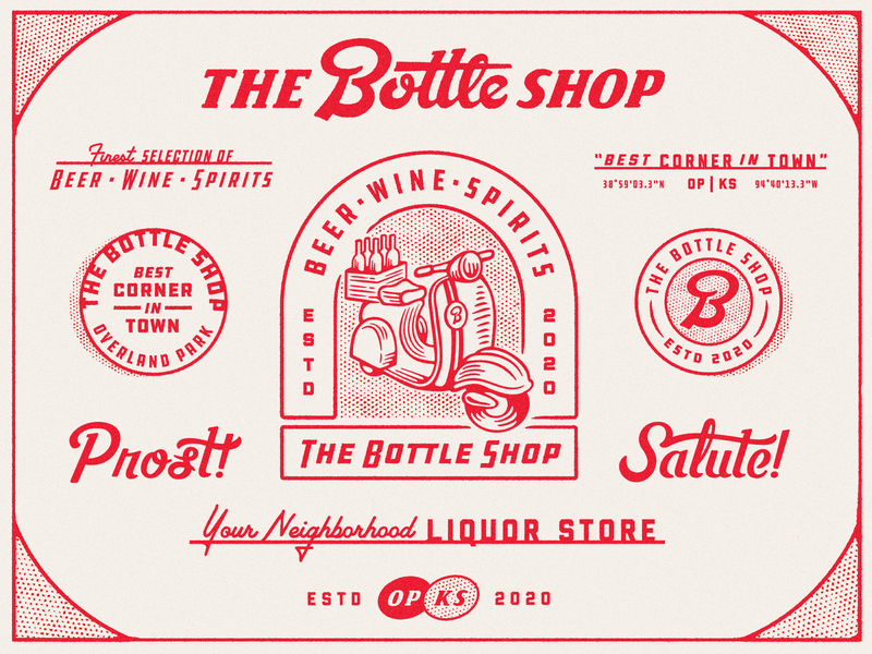 The Bottle Shop beer illustration script texture badge typography bottle shop liquor moped branding