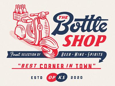 Moped spirits wine beer liquor texture logo branding shirt illustration