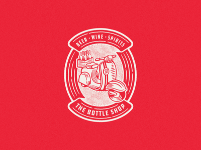 The Bottle Shop Badge brand illustration spirits wine beer liquor shop bottle scooter moped