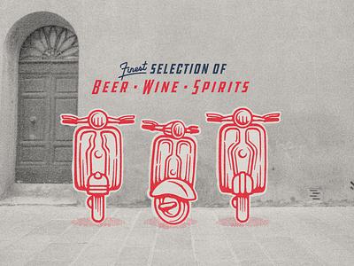 Beer • Wine • Spirits • Mopeds badge moped illustration branding store liquor spirits wine beer