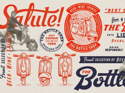 The Bottle Shop Collage vespa cheers store liquor wine beer typography