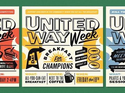 United Way Week Posters arrows badges yoga flex cake snacks sun coffee illustration typography posters