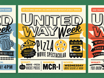 United Way Week Pt 2 movie trivia brain beer typography pizza illustration poster badges arrows