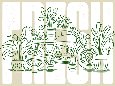 Fresh to Death skull cactus type grow plants motorcycle typography illustration