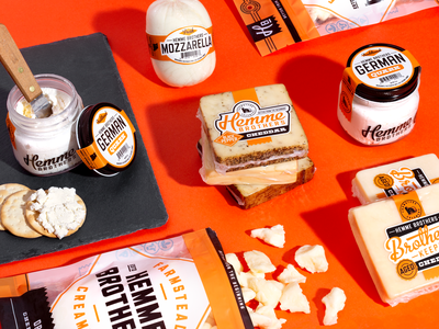 Hemme Brothers Packaging illustration badge typography farm logo branding cheddar packaging cheese