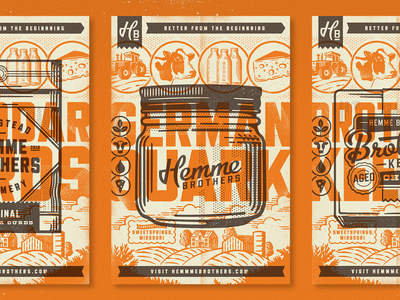 Hemme Brothers Posters dairy milk farm packaging poster cheese branding typography texture illustration
