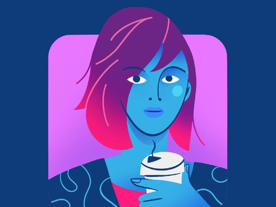 professional lady with coffee vector art procreate illustration