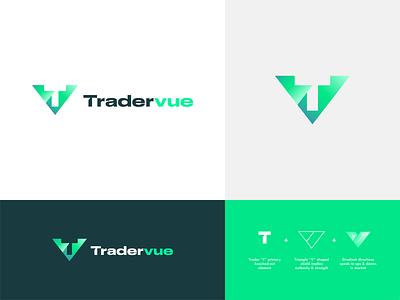 Tradervue branding concept sass identity concept branding logo