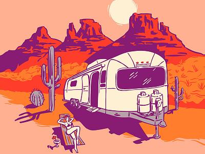 Airstream Desert Lounging Drawing wacom drawing vector postcard