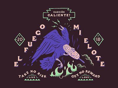 Raven & Elote Logo type illustration animal