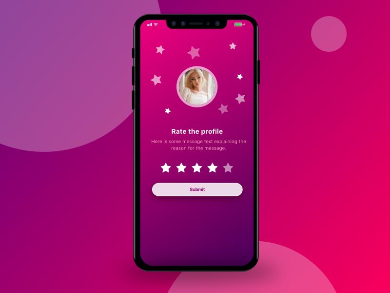 Rate Profile - DailyUI005 dating purple pink profile rating app