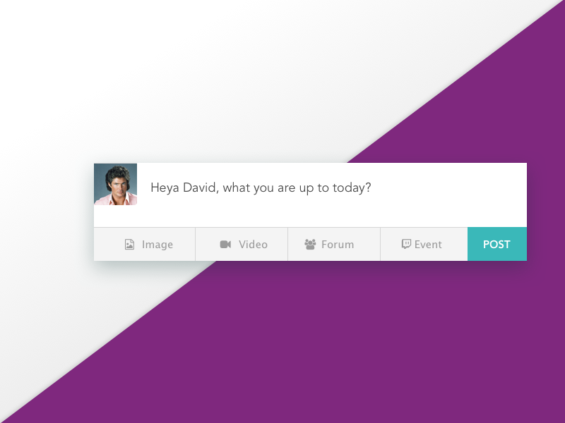 Activity Composer - DailyUI008 newsfeed purple green composer feed activity
