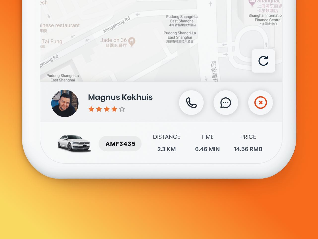 Driver UI for ride hailing APP orange app ride taxi driver