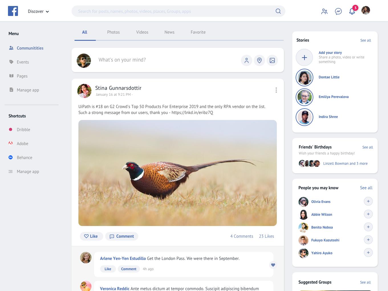 Facebook Redesign 2019 semi flat rounded social media blue redesign facebook