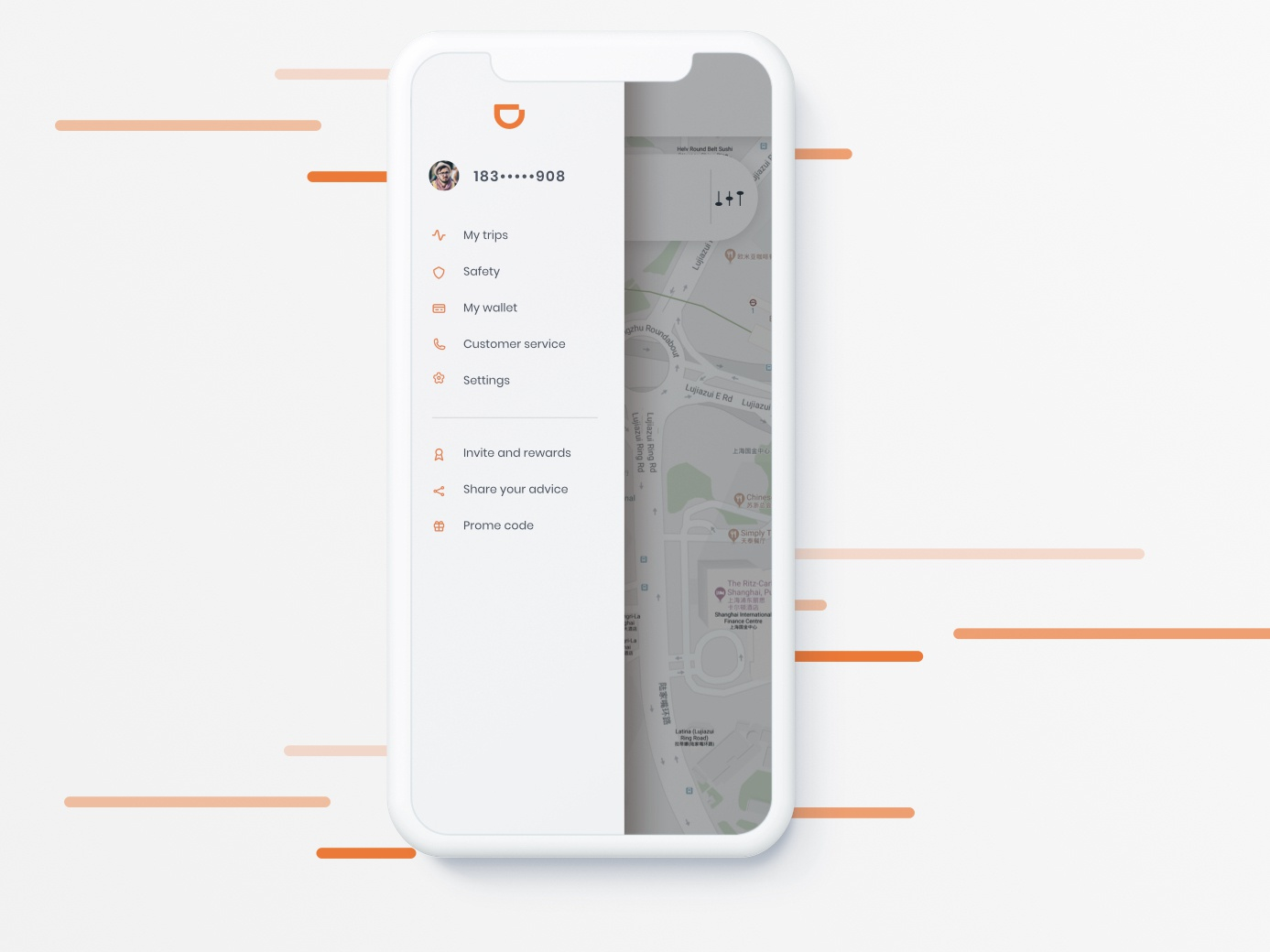 Didi App Menu car sharing taxi menu orange app didi