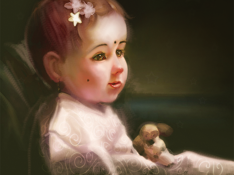 little girl painting by dipak pawar dribbble dribbble rh dribbble com