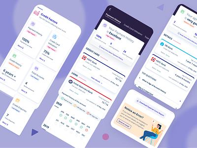 Credit Factors   Credit Score data visulization app mobile finance finance app fintech score banking app reminder banking bank payment credit score credit card credit factors