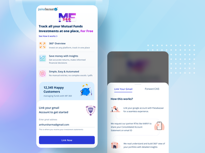 Mutual Funds 360 Landing Page wealth management paisabazaar mutual fund fintech app fintech tracking security steps mobile landing page finance app business investment financial banking banking app