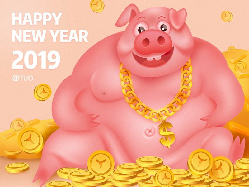 Rich oil gold gold necklace money happy 2019 happy new year pig 插图 ui 设计