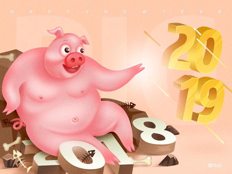 Create 2019 past times review create 插图 猪 快乐 新年快乐 金 2019 ui 设计