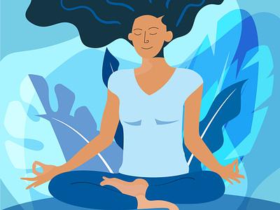 Yoga lady flat illustration flat minimal app icon ui design lady in yoga pose flatdesign illustration