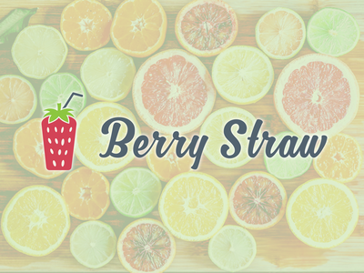 Berry Straw logo design logo fresh design fresh colors color handwriting curly smoothies green fruit fresh smoothie strawberry