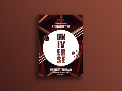 Sound of the Universe dj international earth universal lines circle dynamic cdmx mexico february event music sound universe poster design