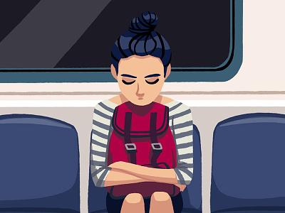 just a girl illustration drawing underground subway girl bag