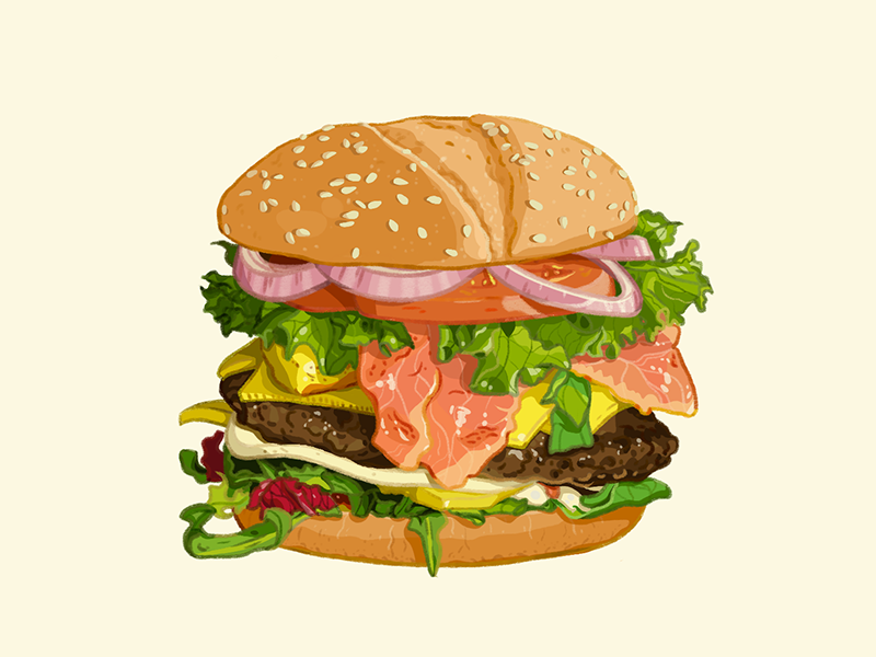 Tasty burger illustration art digital art drawing burger hamburger tasty food meal fastfood junkfood