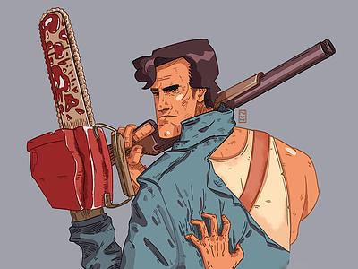 Ash shortgun weapon hand chainsaw dead evil man character drawing digital art art illustration
