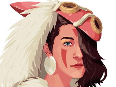 Princess of the forest portrait mask princess girl beauty woman character drawing digital art art illustration