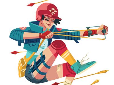 9 ♦ Diamonds 9 of diamonds card playing cards playing arts arrows badass jump girl character drawing art illustration