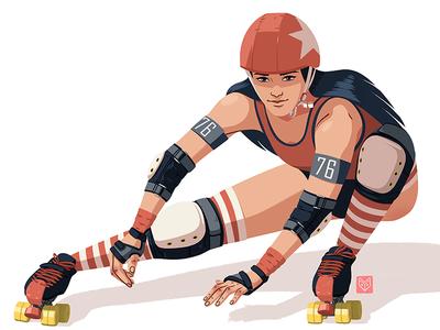 Red roller girl skater helmet long hair roller skates roller derby girl badass woman beautiful drawing art illustration